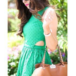 Topshop green eyelet cut-out detail dress